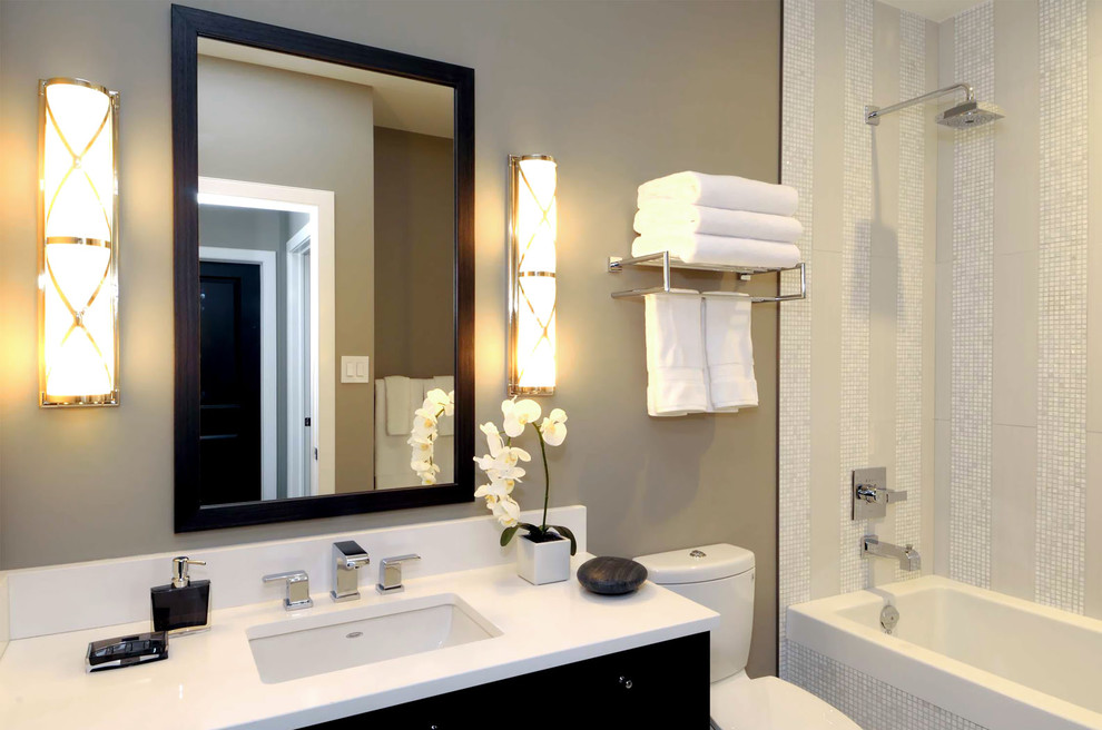 Example of a trendy mosaic tile bathroom design in Other