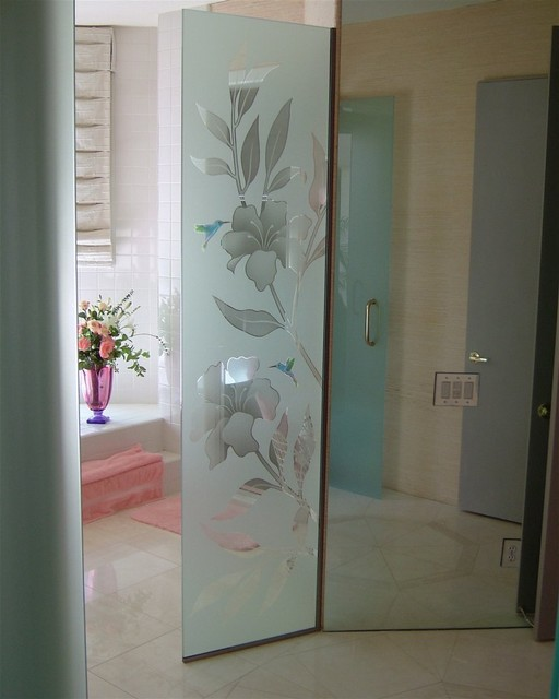 Hibiscus U0026 Hummingbirds Glass Shower Partition Tropical Bathroom
