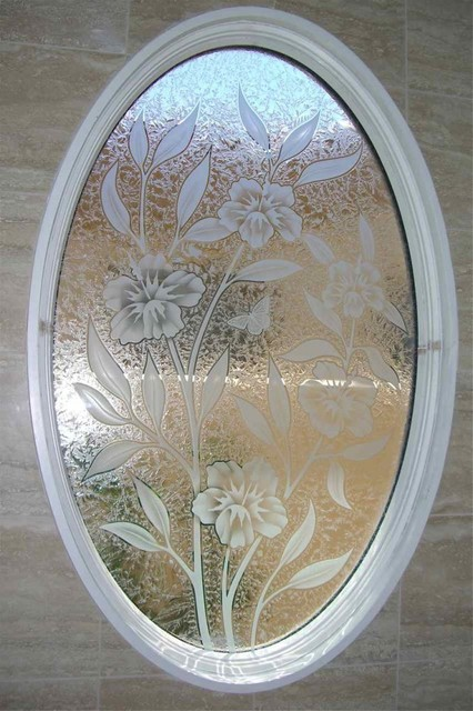 Hibiscus Bathroom Windows Frosted Glass Designs Privacy Glass Eclectic Bathroom Other