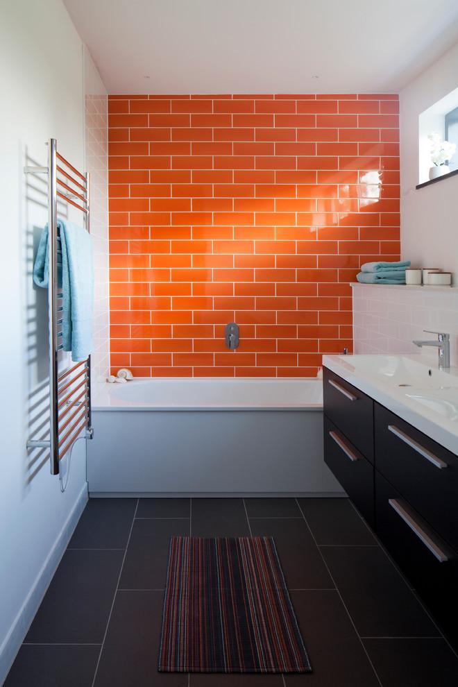 Bathroom - contemporary gray floor bathroom idea in Devon