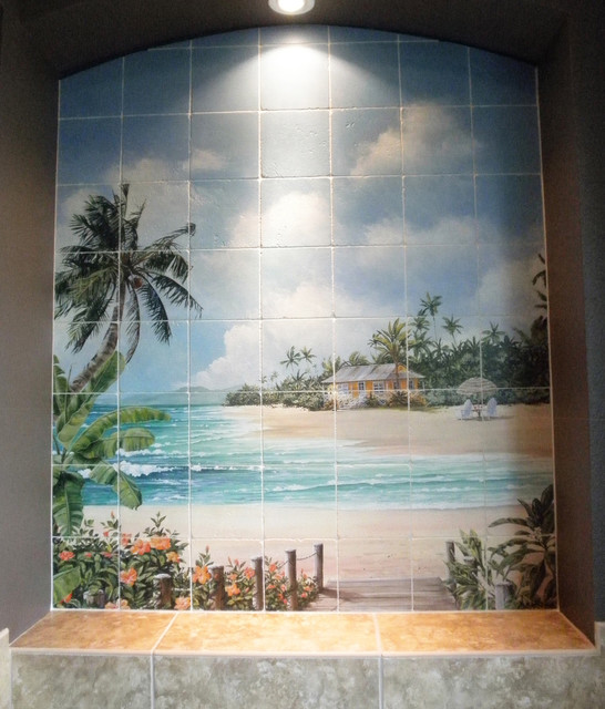 Hideaway cove tile mural contemporary bathroom san for Bathroom tile mural