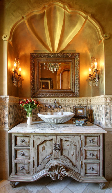 High End & Luxurious Bathrooms Built By Fratantoni Luxury Estates mediterranean-powder-room