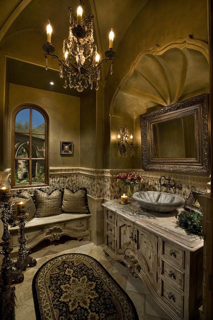 High End & Luxurious Bathrooms Built By Fratantoni Luxury Estates mediterranean-powder-room