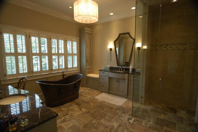 High End Master Bathroom With Copper Tub Curbless Shower Linear Drain