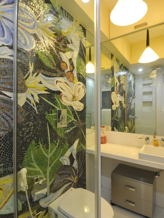 Contemporary Jungle Themed Bathroom Design Ideas, Pictures, Remodel & Decor