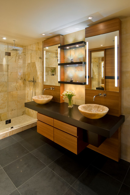 High-rise Condo modern-bathroom