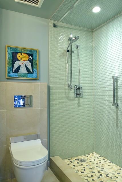 High Rise Condominium Contemporary Bathroom Houston