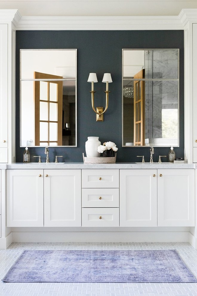 Bathroom - large traditional master white floor and mosaic tile floor bathroom idea in Salt Lake City with shaker cabinets, white cabinets, blue walls, gray countertops and an undermount sink