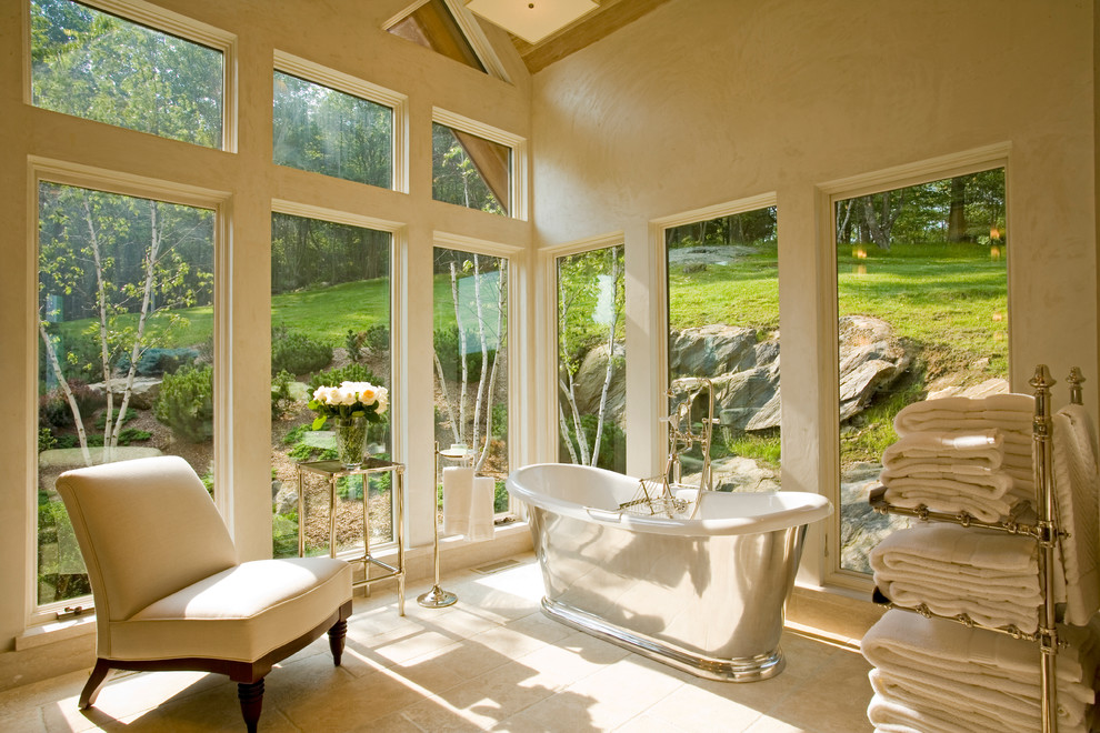 Example of a large transitional master white tile ceramic tile freestanding bathtub design in New York with white walls