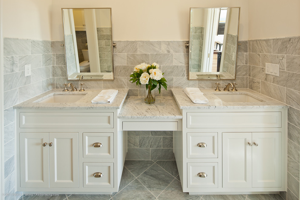 Inspiration for a transitional bathroom remodel in Austin with white cabinets