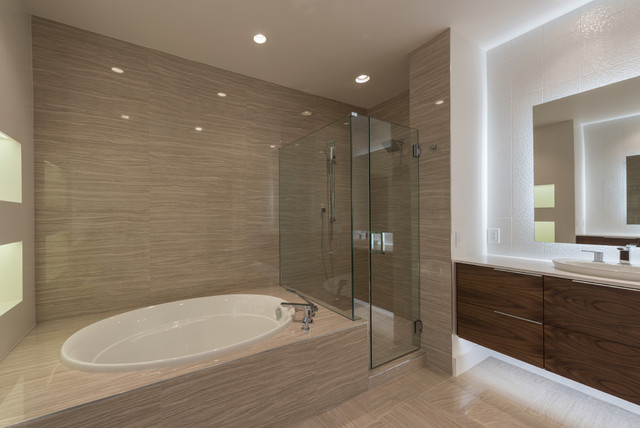 Hill country ranch house modern bathroom other metro for Modern ranch bathroom