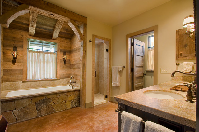 Rustic Bathroom Designs: Hill Country Retreat
