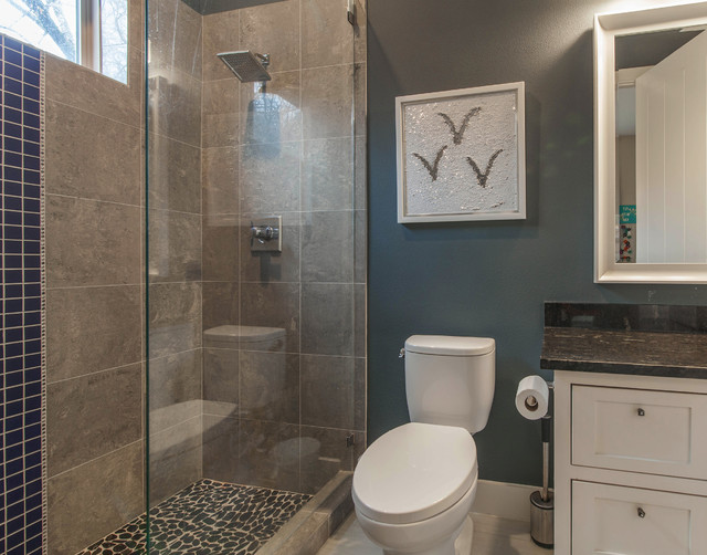 Trendy gray tile and ceramic tile bathroom photo in Dallas with recessed-panel cabinets, white cabinets and granite countertops