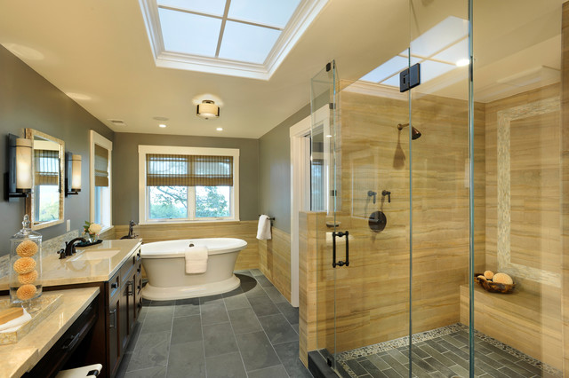 Inspiration for a contemporary beige tile gray floor bathroom remodel in San Francisco with an undermount sink, recessed-panel cabinets and dark wood cabinets