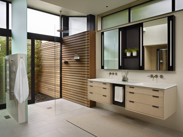 Hillside modern modern bathroom seattle by for Indoor outdoor bathroom design ideas