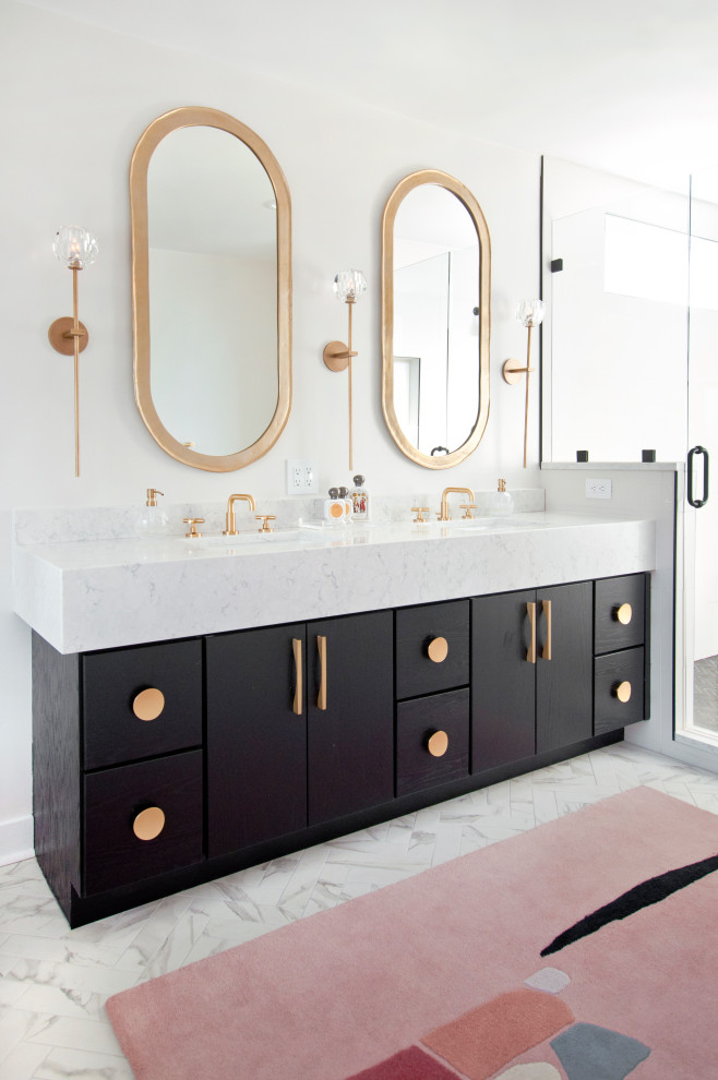 Inspiration for a 1950s master double-sink bathroom remodel in Nashville with flat-panel cabinets, black cabinets, white walls, an undermount sink and white countertops