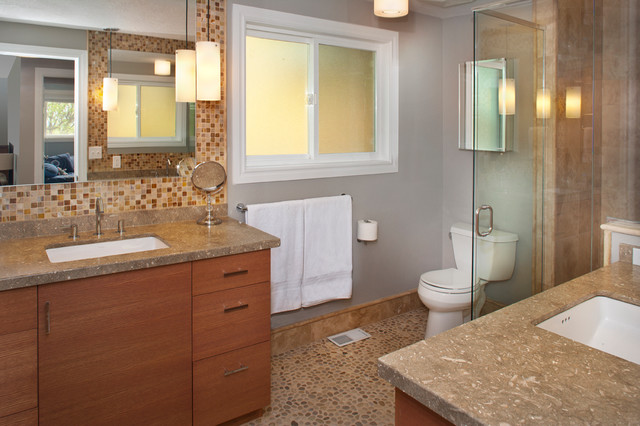 His and her vanities in master bath transitional bathroom boise by strite design remodel for His and her bathroom vanities