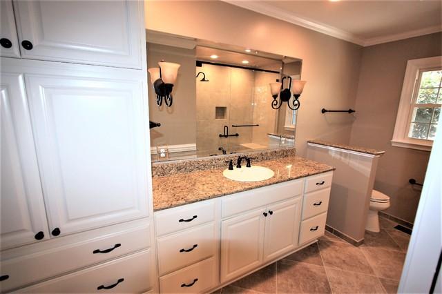 His hers shower w walk thru closet traditional for Kraftmaid closet systems