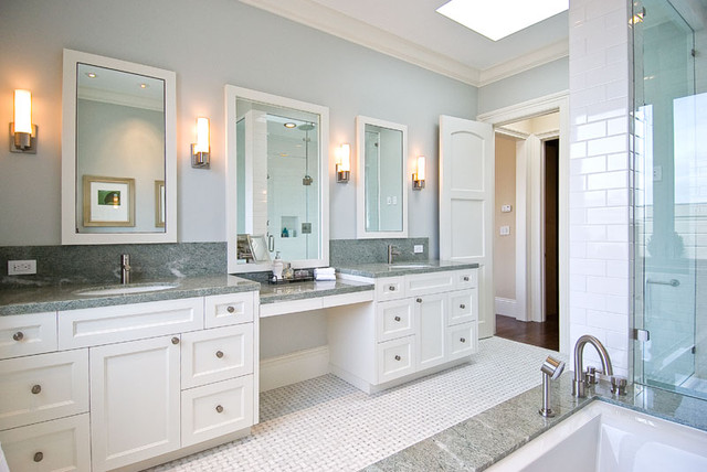 his and hers vanities, painted cabinets, granite counters, granite backsplash traditional bathroom