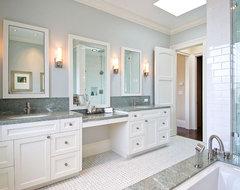 Lastest Bathroom W Wrap Around Slab Travertine Counter Vanity W Knee Space