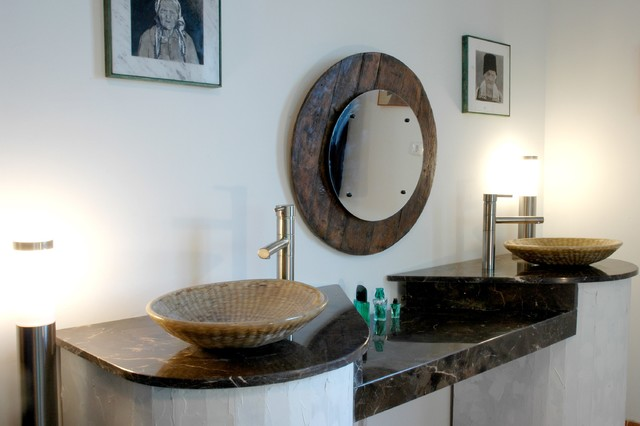 His and Hers W/ Custom Weaved Basket Sinks - Rustic - Bathroom ...