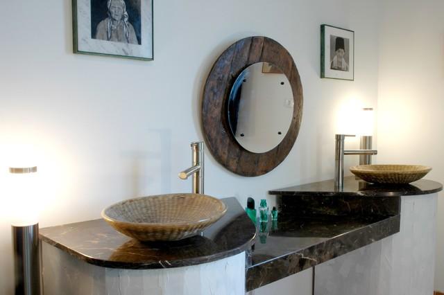His and Hers W/ Custom Weaved Basket Sinks - Rustic - Bathroom ... His And Hers Bathroom Sink on his her robe hooks, his her bathroom floor plans, his her bathroom art,