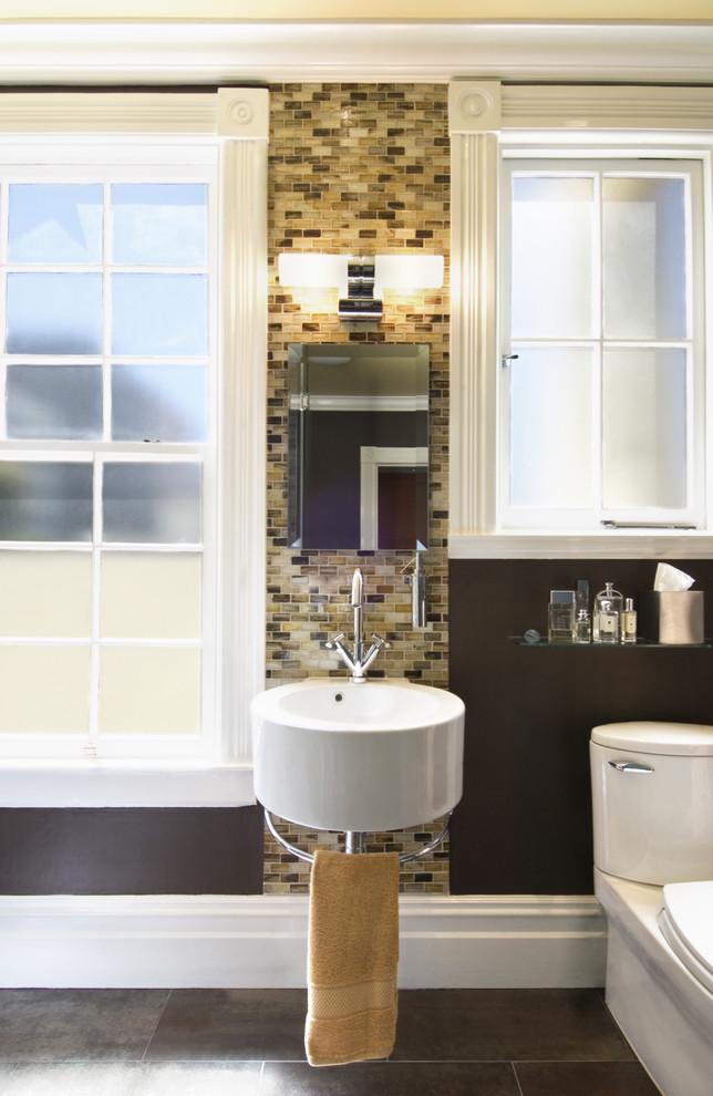 Bathroom - contemporary bathroom idea in San Francisco with a wall-mount sink