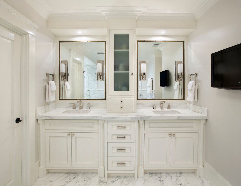 Inspiration for a mediterranean white tile bathroom remodel in San Francisco with an undermount sink, beaded inset cabinets, white cabinets and gray countertops