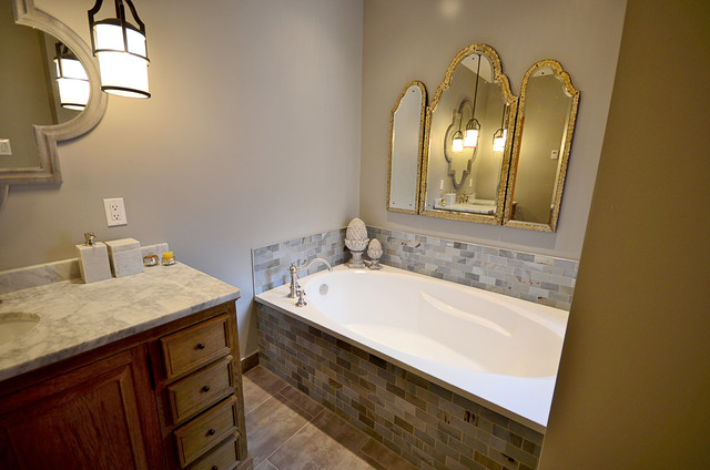 Historic townhouse kitchen and bathroom transformation eclectic-bathroom