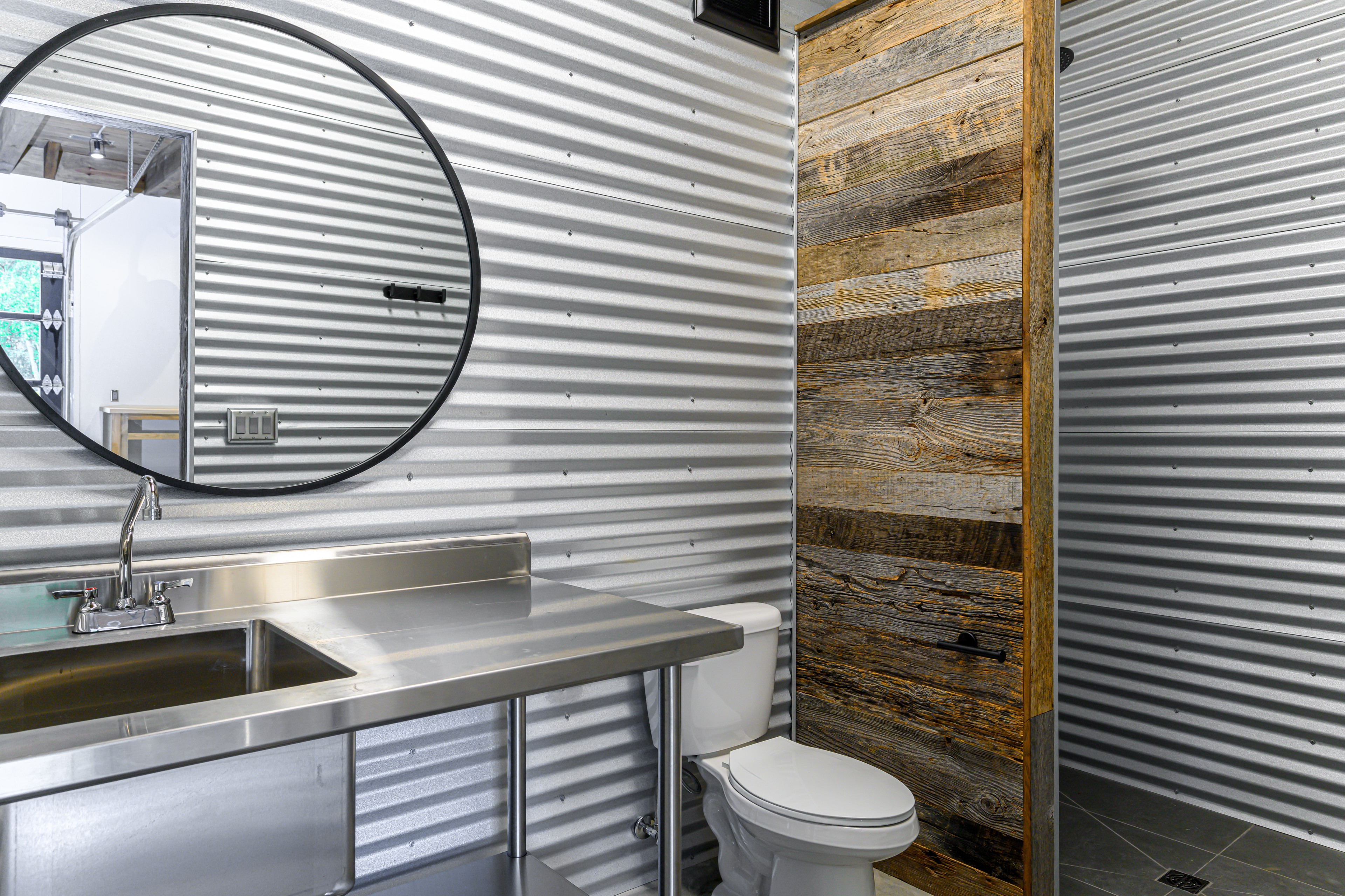 With Stainless Steel Countertops, Stainless Steel Bathroom