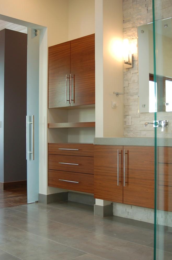 Inspiration for a modern bathroom remodel in Denver