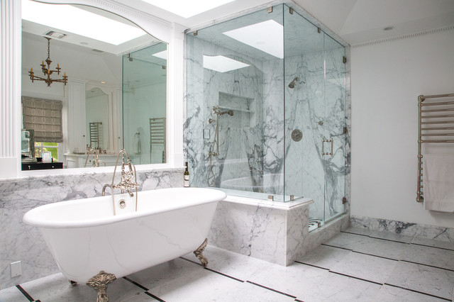 Example of a large classic master white tile marble floor bathroom design in Los Angeles with white walls, marble countertops and a hinged shower door