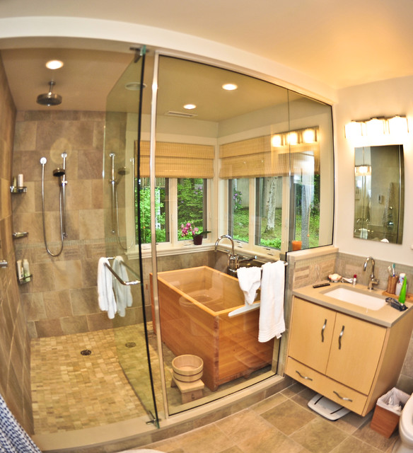 Bathroom Fixtures Boston home addition featuring master bathroom with ofuro tub
