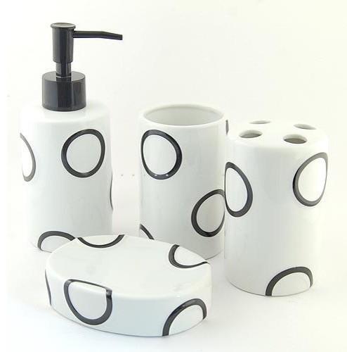 Home Fashion Circle Printed Ceramic Bath Accessory contemporary-bathroom