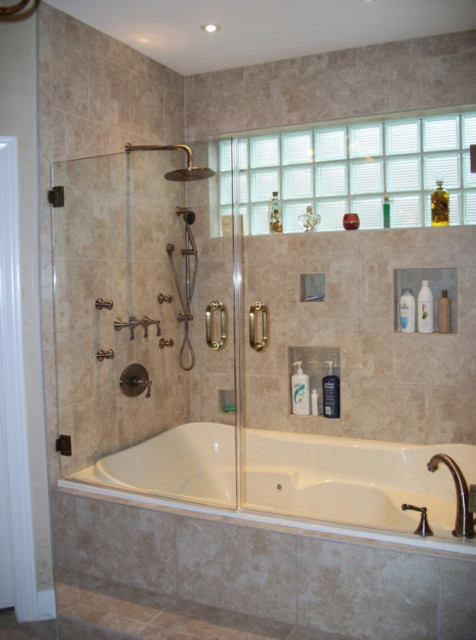 Example of a classic beige tile and porcelain tile bathroom design in Houston