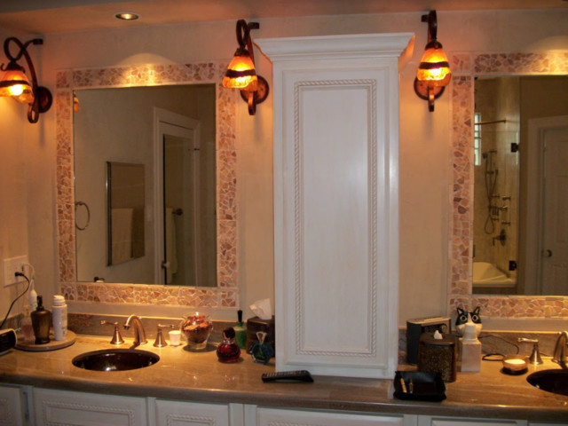 Alcove shower - mid-sized traditional alcove shower idea in Houston with furniture-like cabinets, white cabinets, beige walls, an undermount sink, granite countertops and brown countertops
