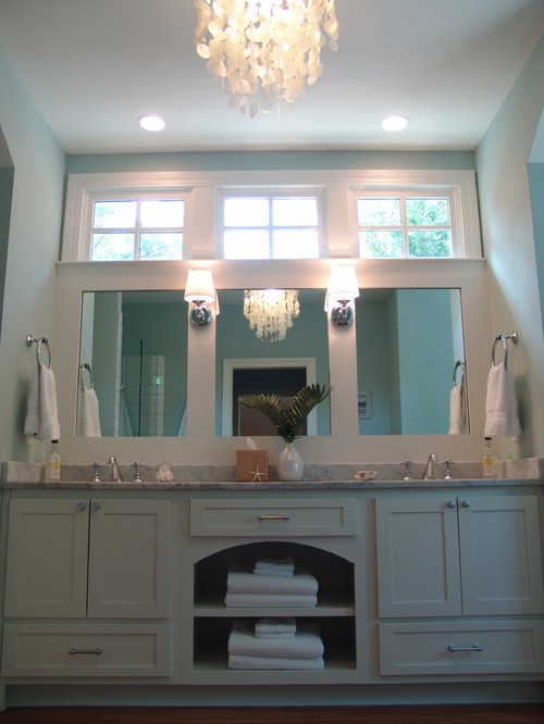 Love the windows over the vanity is this a 9 ft ceiling for Bathroom 9 foot ceiling