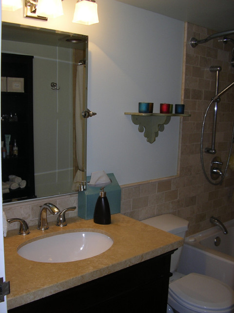Honed marble subway style traditional-bathroom