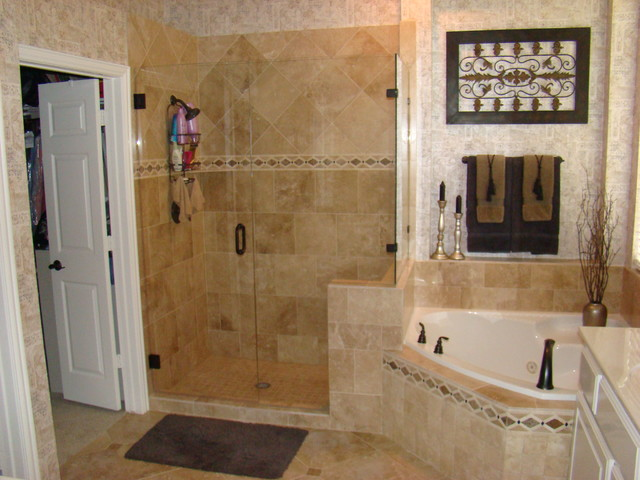 Honed travertine mediterranean bathroom dallas by for Bathroom travertine tile designs