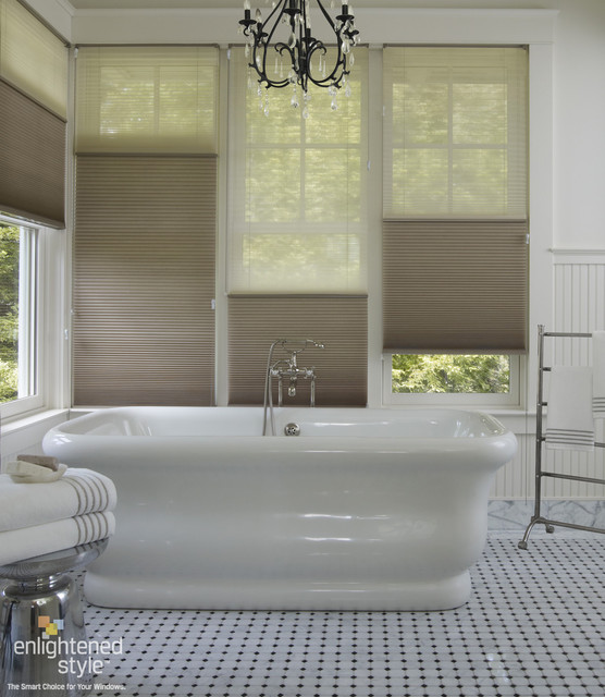 honeycomb shades bathroom traditional bathroom