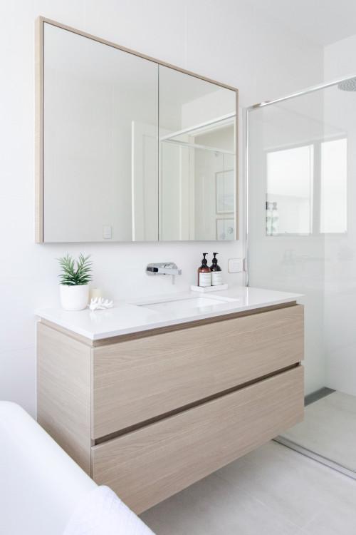 Coastal bathroom modern with oak timber vanity