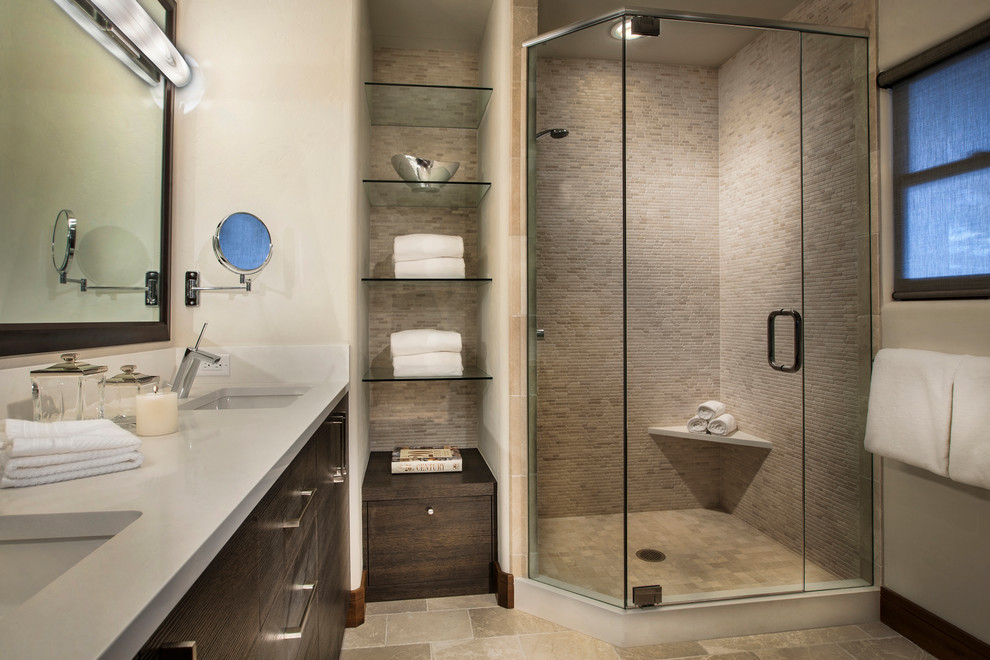 Corner shower - mid-sized contemporary master matchstick tile ceramic tile and beige floor corner shower idea in Denver with an undermount sink, flat-panel cabinets, dark wood cabinets, beige walls, laminate countertops and a hinged shower door