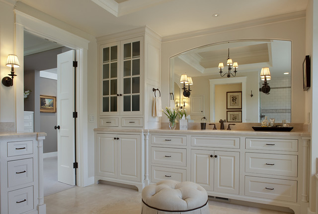 Inspiration for a timeless beige tile bathroom remodel in San Francisco with raised-panel cabinets and white cabinets