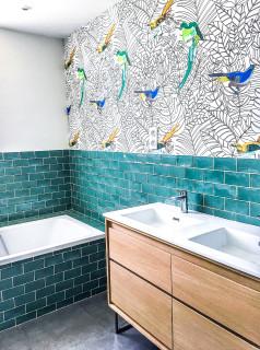 Salle De Bain Avec Un Carrelage Vert Photos Et Idees Deco De Salles De Bain Novembre 2020 Houzz Fr