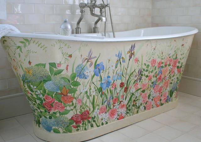 Housefox Design   Wild Flowers Painted On A Freestanding Bathtub.  Coastal Bathroom