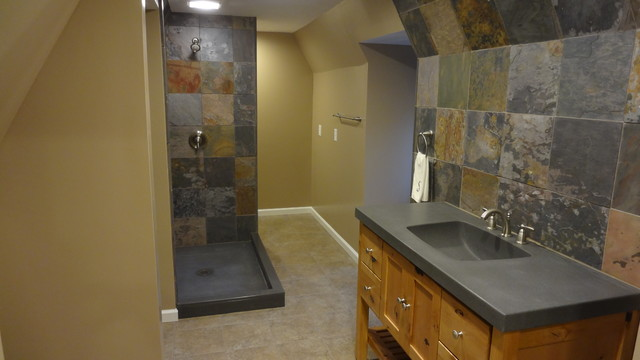 Houzzcom inspired Custom Tile Bathroom Remodel Rustic Bathroom