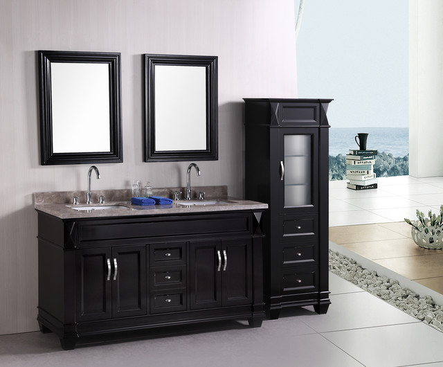 "Bathroom Vanities Set hudson 60"" double bathroom vanity set - traditional - bathroom"