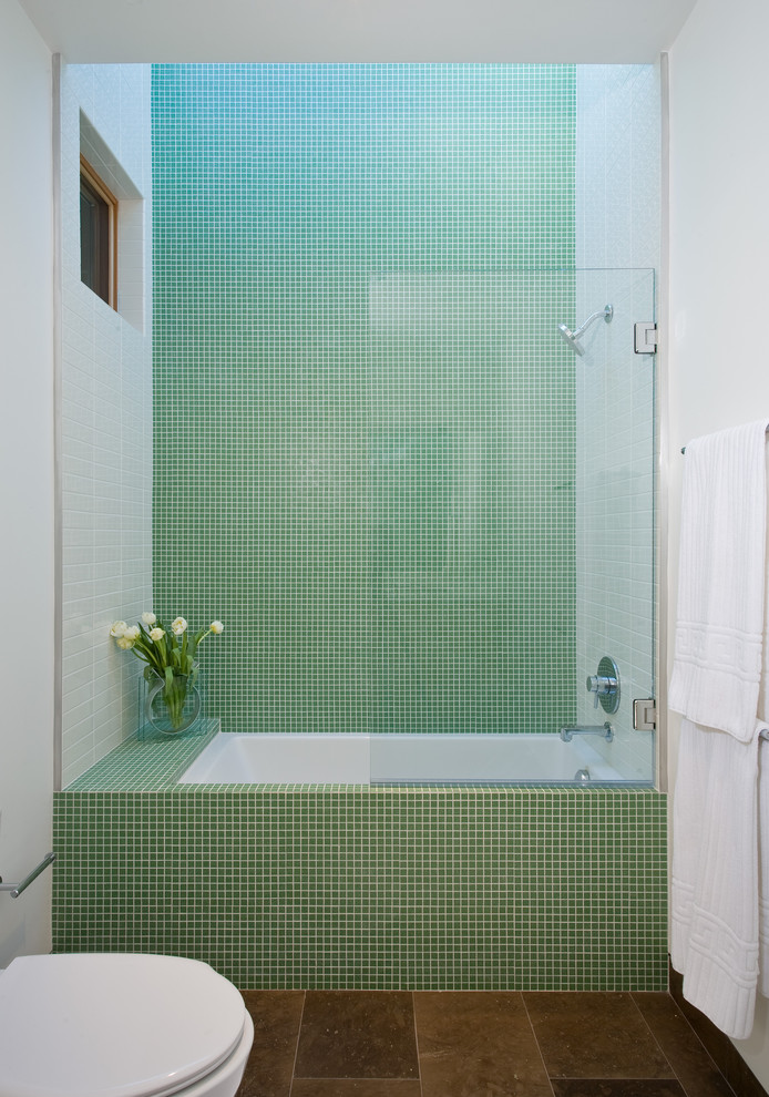 Mid-sized minimalist mosaic tile and green tile limestone floor tub/shower combo photo in San Francisco with white walls