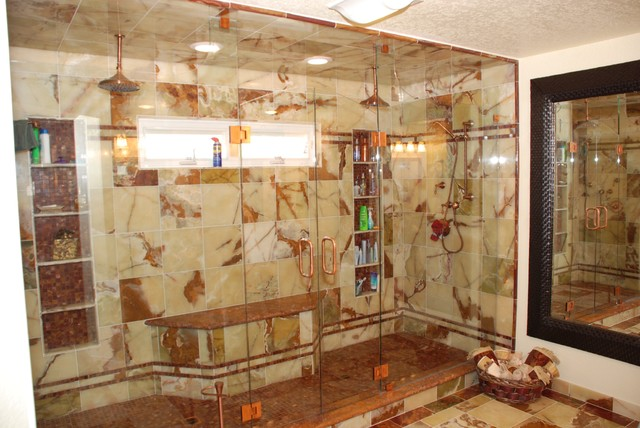 Huge Double Shower Amp Red Amp Green Onyx Amp Copper Fixtures
