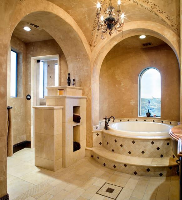 Hunterwood Tuscan Villa Mediterranean Bathroom